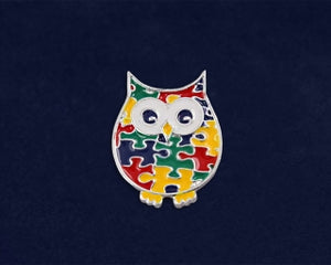 Owl Autism Awareness Pin