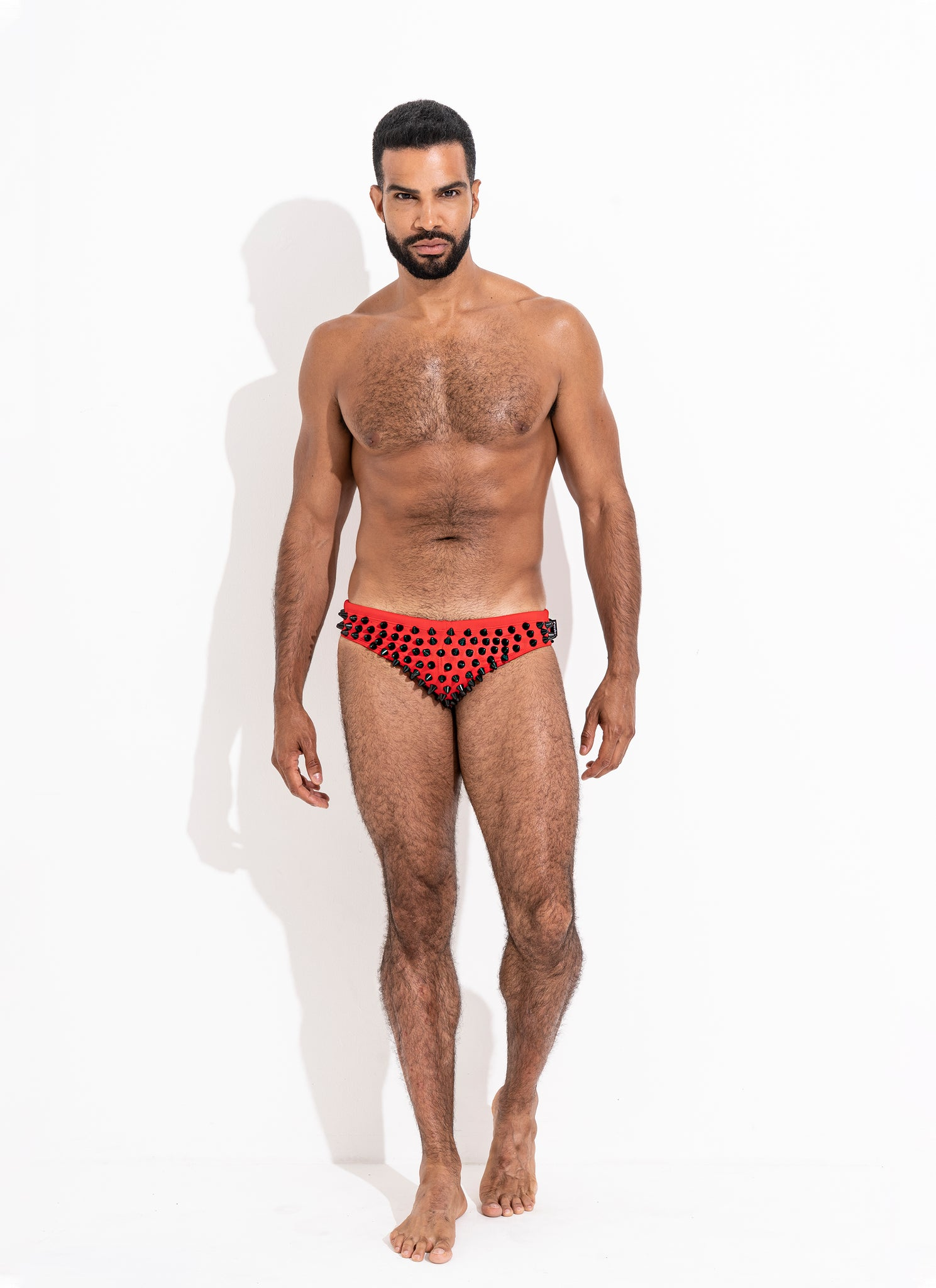 "Classic Cut Swim Brief Crimson "" Limited Edition. Full Black Stud"""