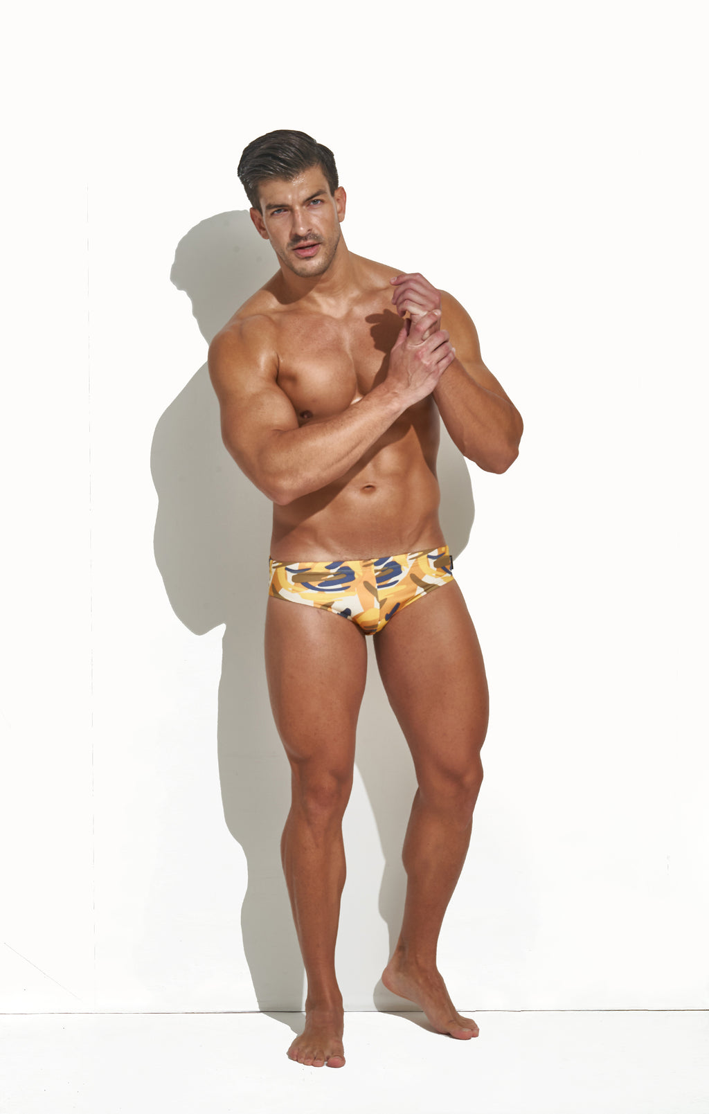 CLASSIC CUT SWIM BRIEF 70'S CAMO PRINT