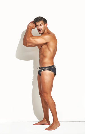 "Classic Cut Swim Brief "" Limited Edition Border Stud Silver"""