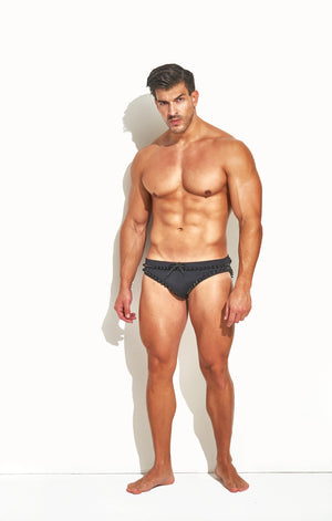"Classic Cut Swim Brief "" Limited Edition Border Stud Black"""