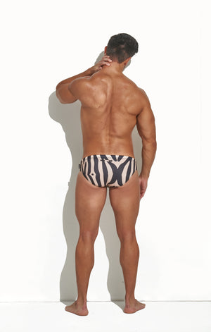 CLASSIC CUT SWIM BRIEF ZEBRA PRINT