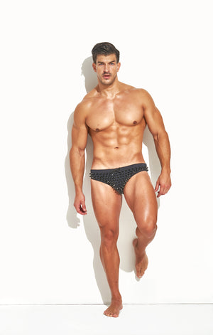 "Classic Cut Swim Brief "" Limited Edition Full Stud Black"""