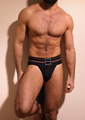HERCULES CLASSIC JOCKSTRAP - BLACK WITH STRIPE