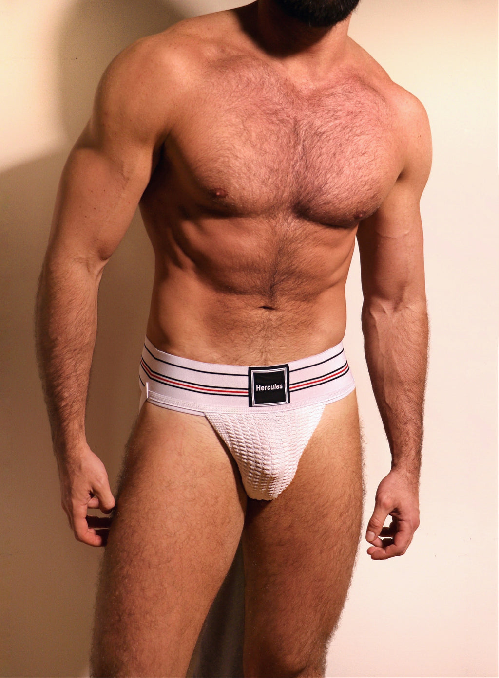 HERCULES CLASSIC JOCKSTRAP - WHITE WITH STRIPE