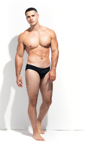 LOW CUT SWIM BRIEF BLACK