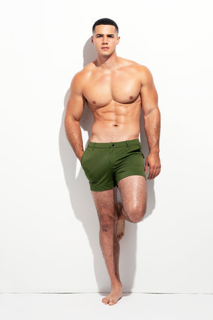 TAILORED SWIM SHORTS PALM GREEN