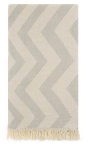 HERCULES ZIG ZAG TURKISH TOWEL - GREY