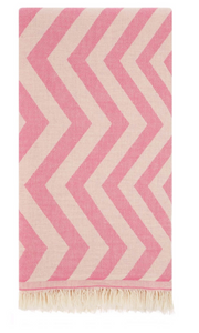 HERCULES ZIG ZAG TURKISH TOWEL - PINK
