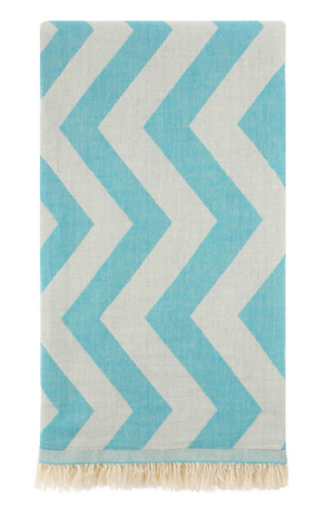HERCULES ZIG ZAG TURKISH TOWEL - TURQUOISE