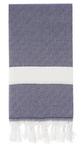 HERCULES DIAMOND TURKISH TOWEL - NAVY