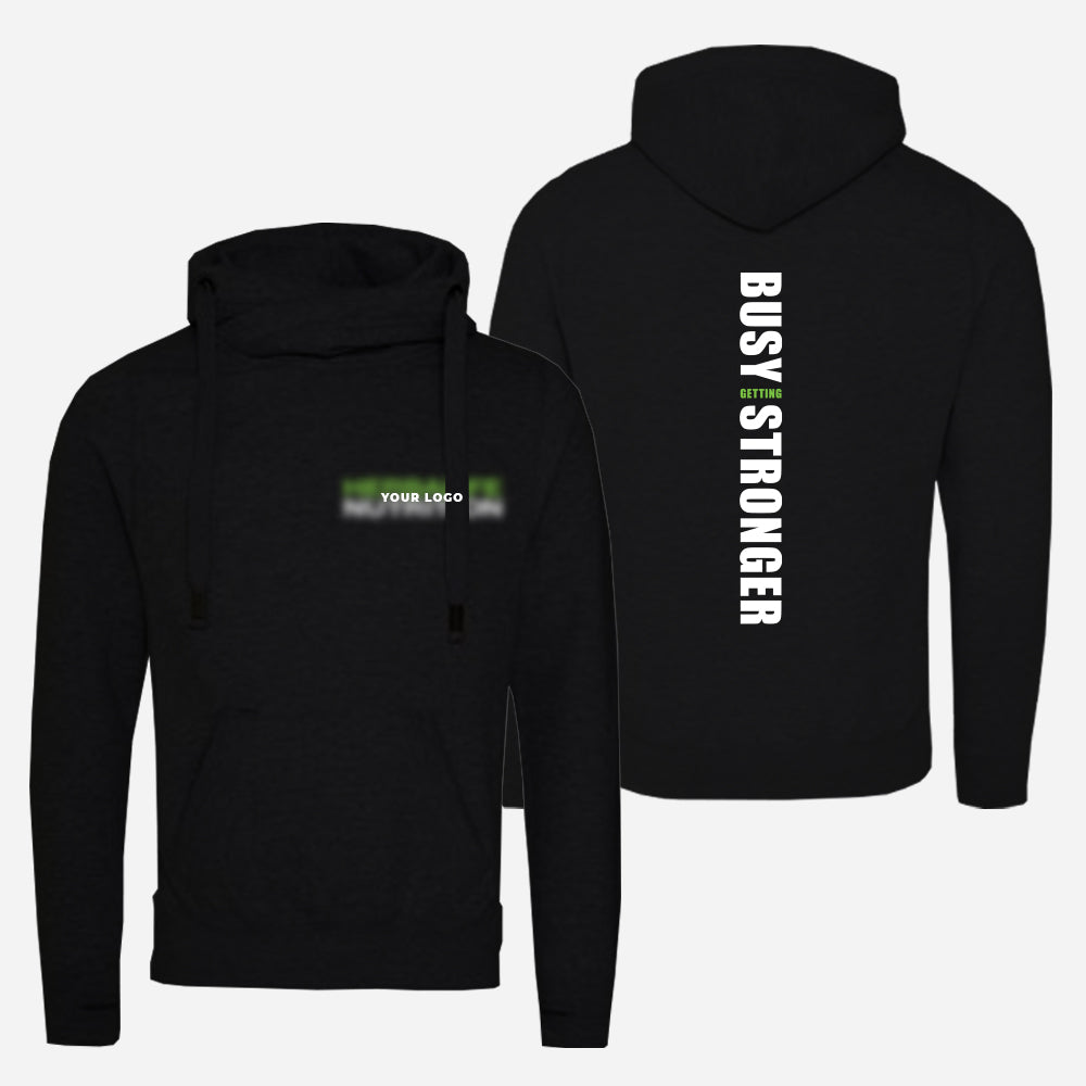 Cross Neck Unisex Hoodie (Busy Getting Stronger)