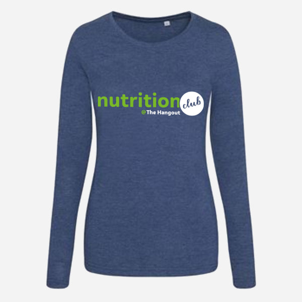 Girlie Triblend T Long Sleeve - Heather Charcoal, Heather Navy (Nutrition club - Personalised)