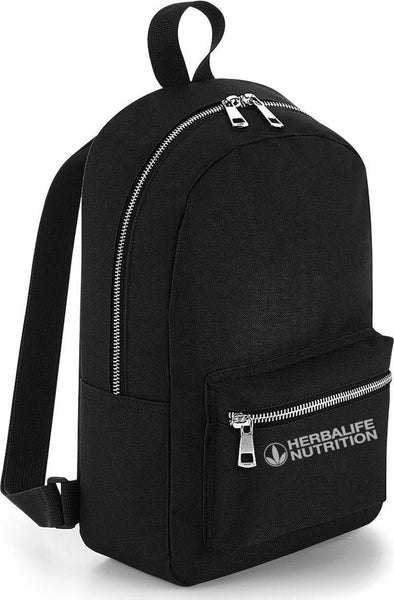 Branded Metallic Zip Mini Backpack (Black with Silver)