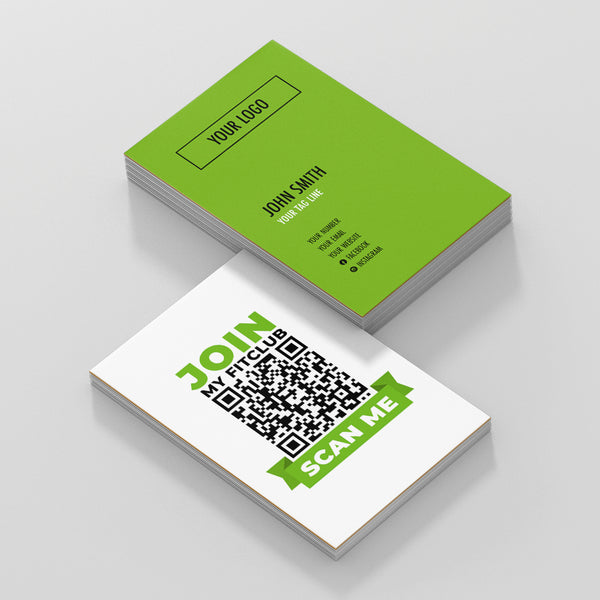 Green and White Double Sided Business Cards with Join My Club Scan