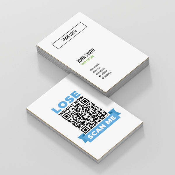 White Double Sided Business Cards with Lose Weight Scan