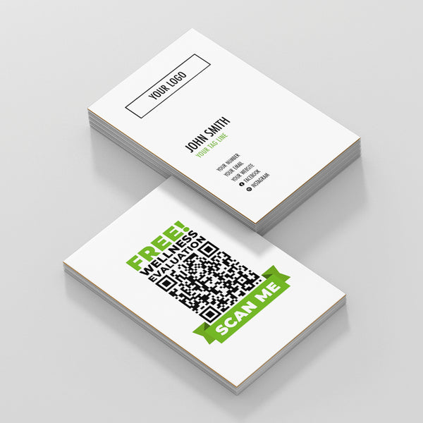 White Double Sided Business Cards with Wellness Scan
