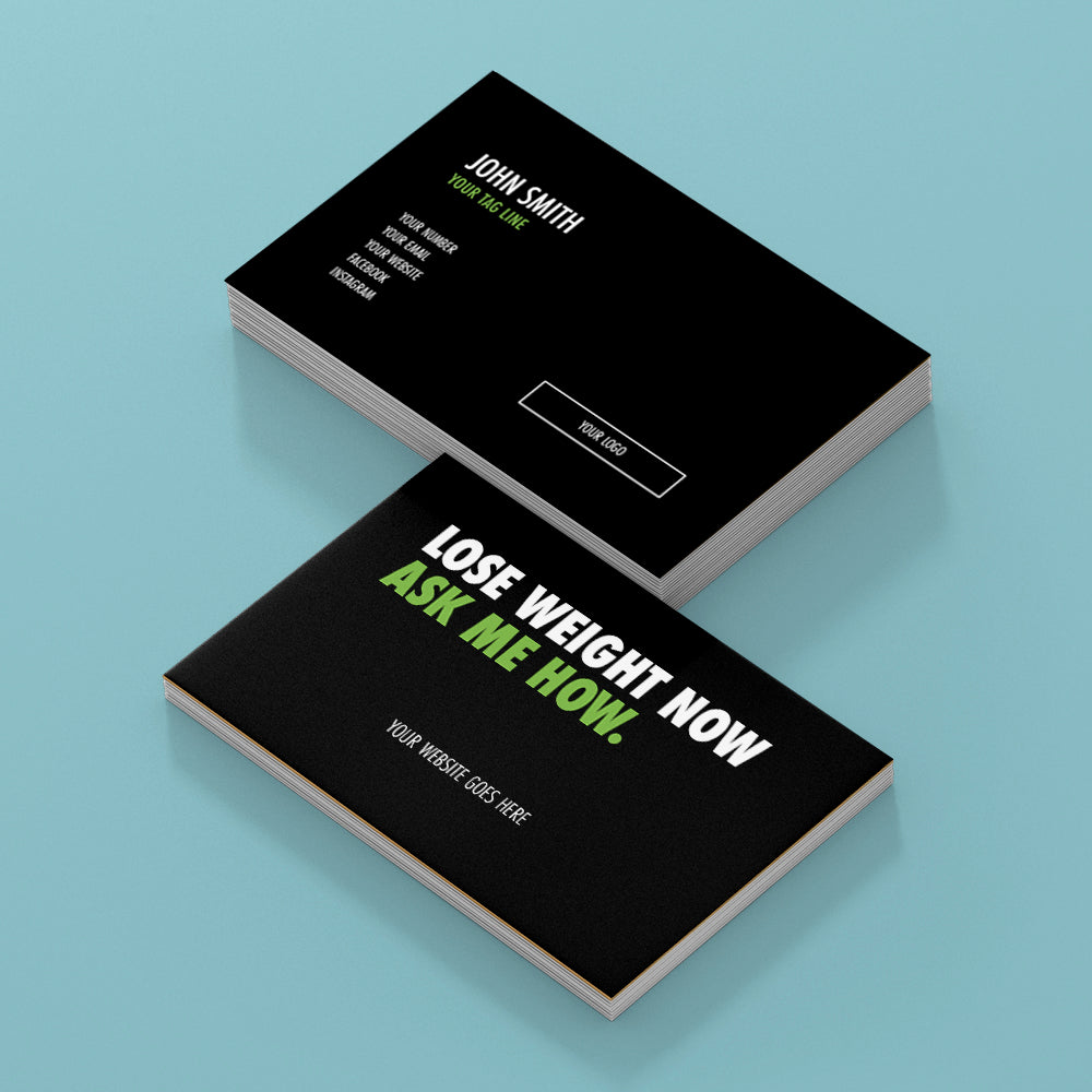 Black Double Sided Business Cards with Message on the Back