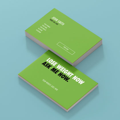 Green Double Sided Business Cards with Message on the Back