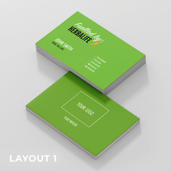 Green Double Sided Business Cards (Fuelled by Herbalife)