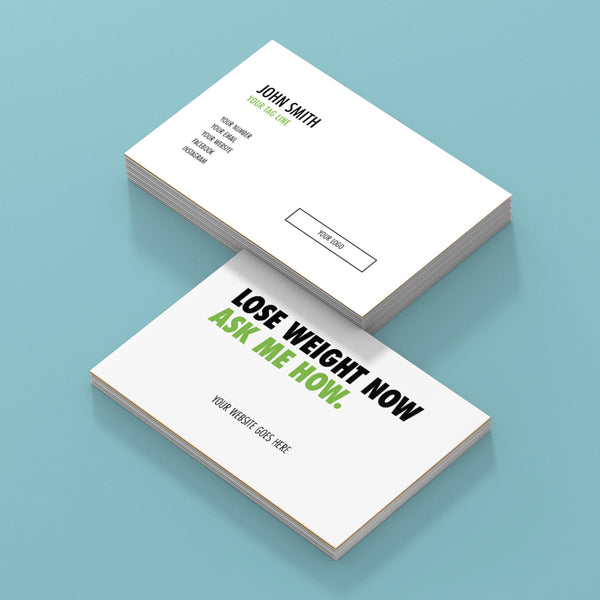 White Double Sided Business Cards with Message on the Back