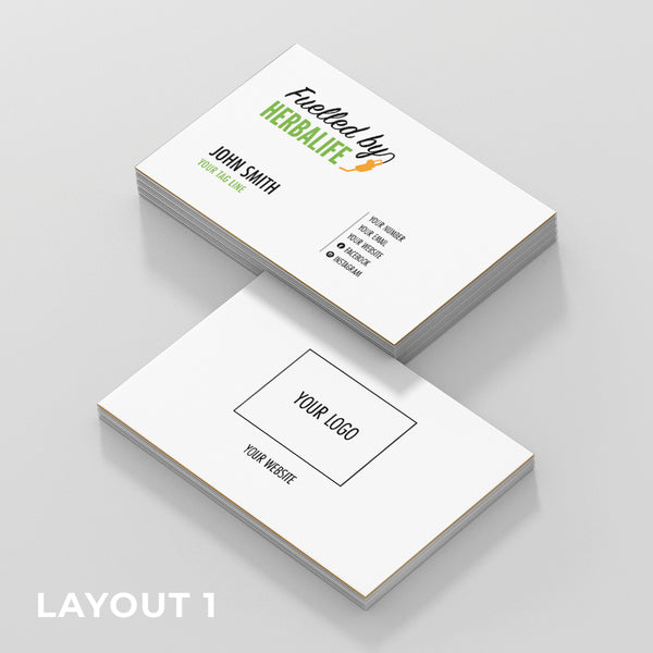 White Double Sided Business Cards (Fuelled by Herbalife)