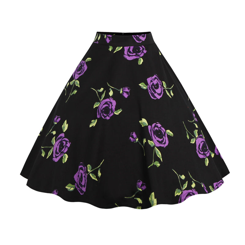 Base Black Purple Floral Skirt
