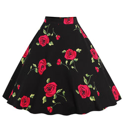 Base Black Red Floral Skirt