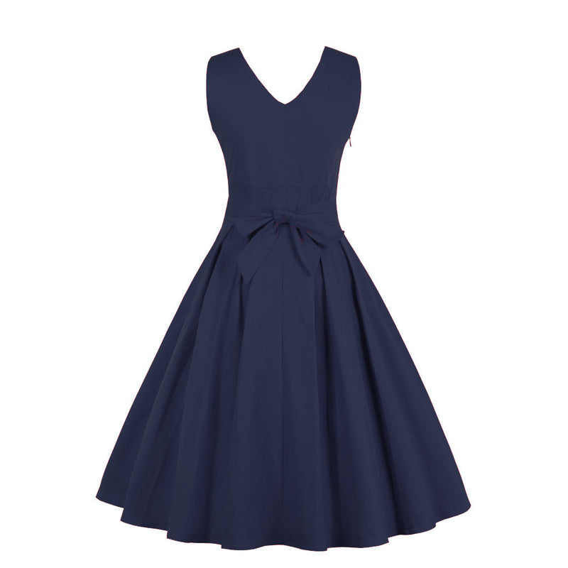 Waist Bow Tie Pleated Dress In Navy Blue