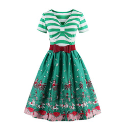 Striped bow green print Dress
