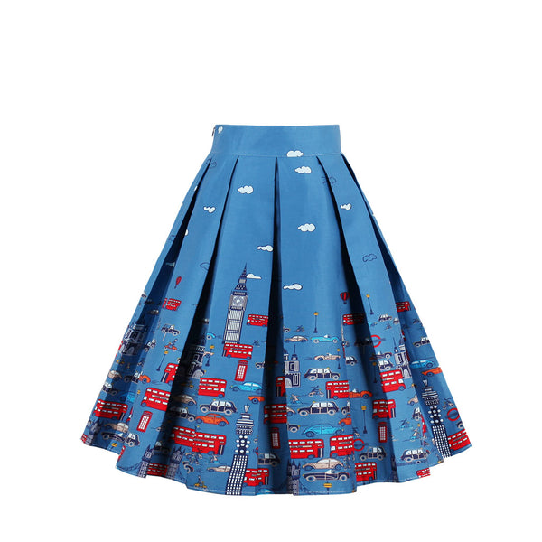 City Patterns Blue Skirt