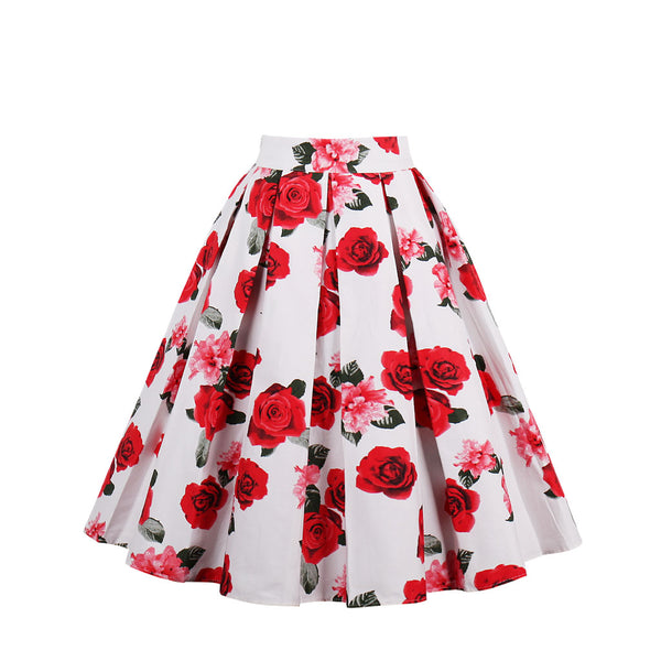 Base White Red Floral Skirt