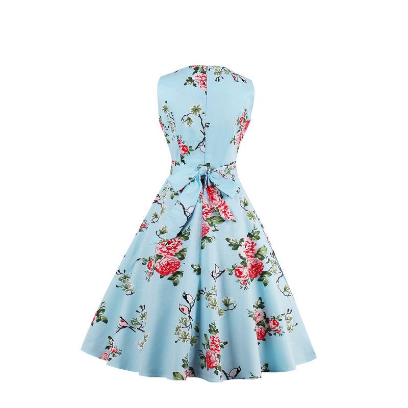 Floral print & back tie Dress