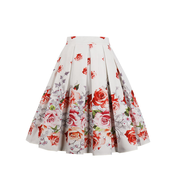 Multi Orange Floral White Skirt