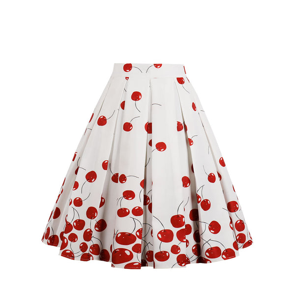 Pattern Red Fruit Print White Skirt