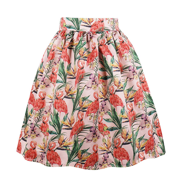 Multi Flamigo & Floral Print Skirt