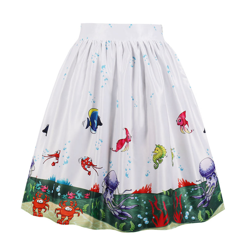 Multi Sea Fish White Skirt