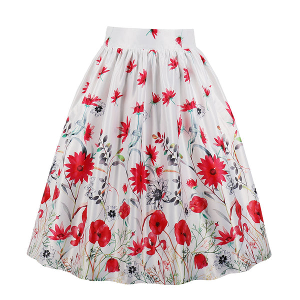 Multi Red Floral White Skirt