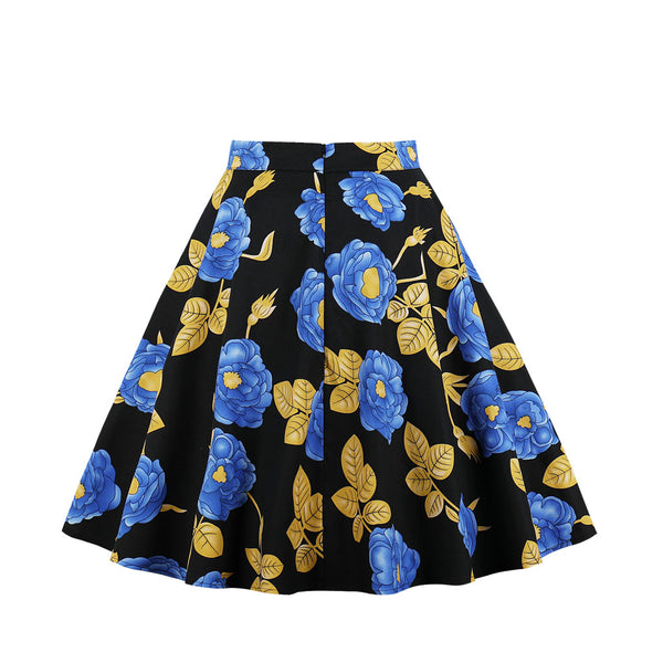 Base Black Blue Floral Print Skirt