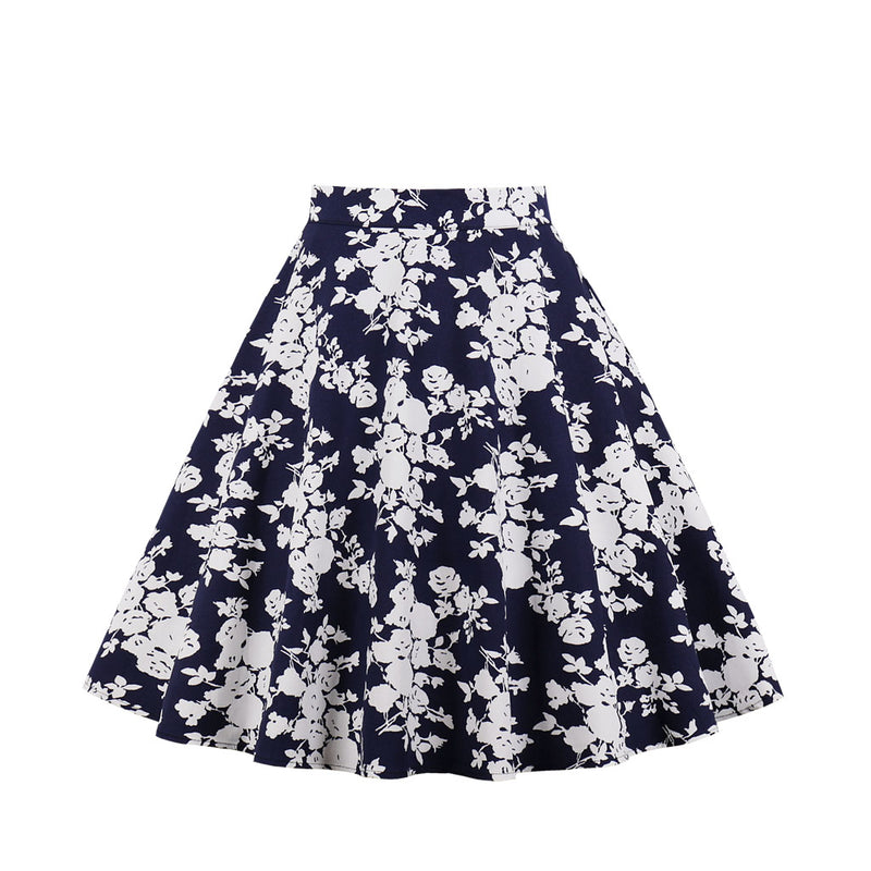 Multi White Floral Print Skirt