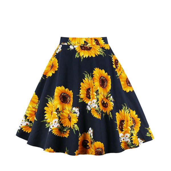 Base Black Sunflower Print Skirt