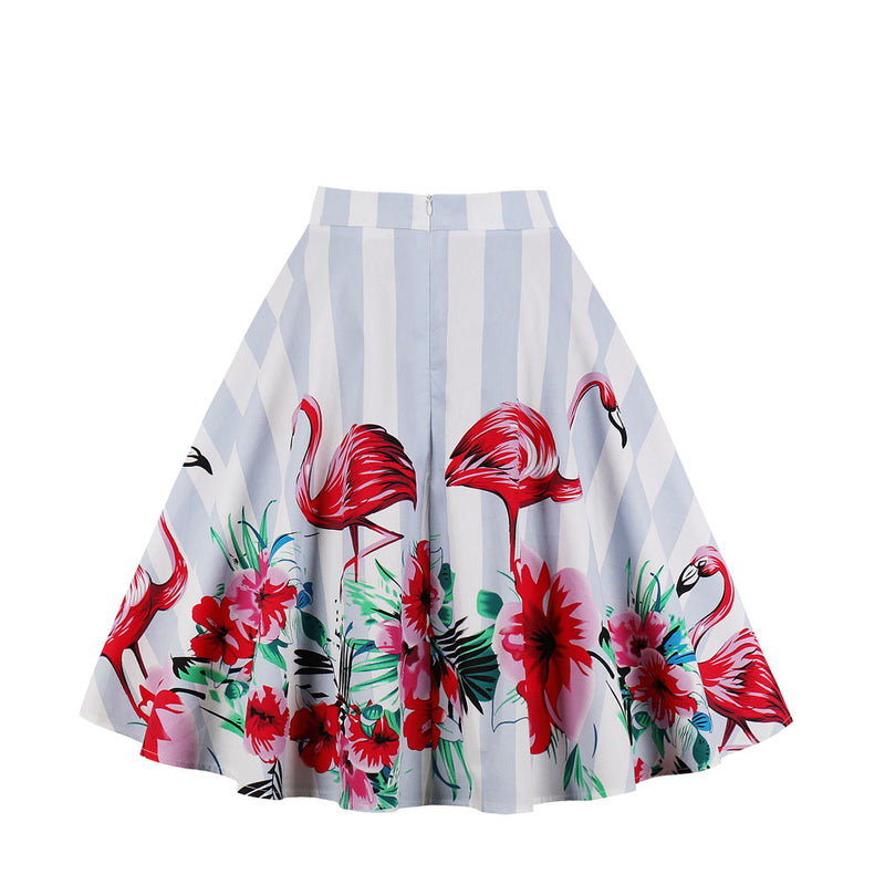 Multi Red Floral & Stripes Skirt