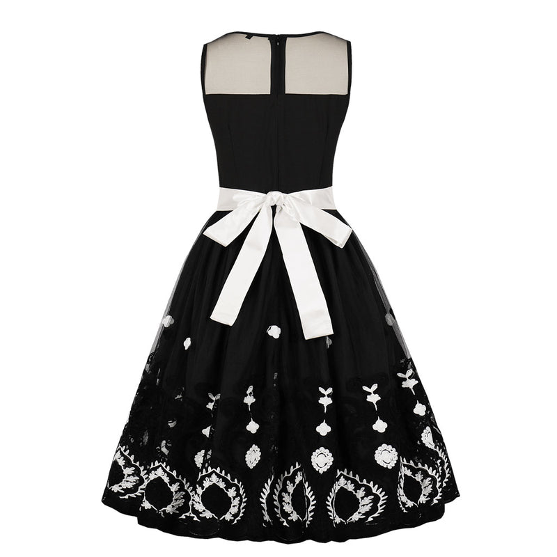 Black & White Patterns Sleeveless Dress