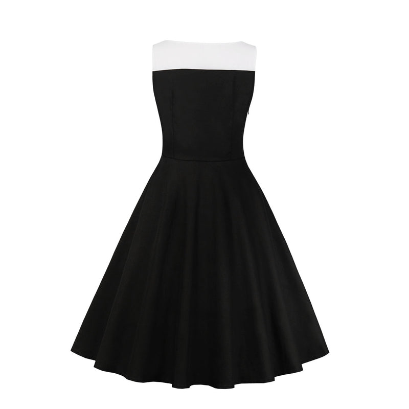White Buttons Down Black Dress