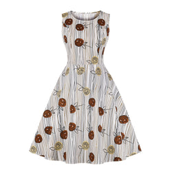 Red & Yellow Flowers Design Dress in Apricot