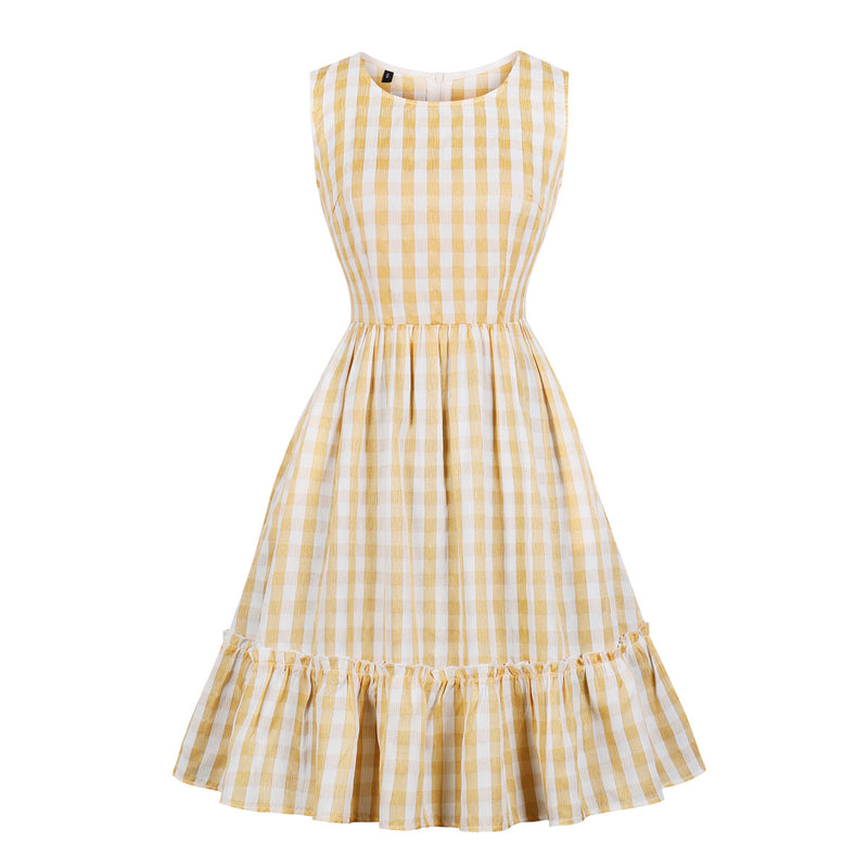 Checked Dress in Apricot & White