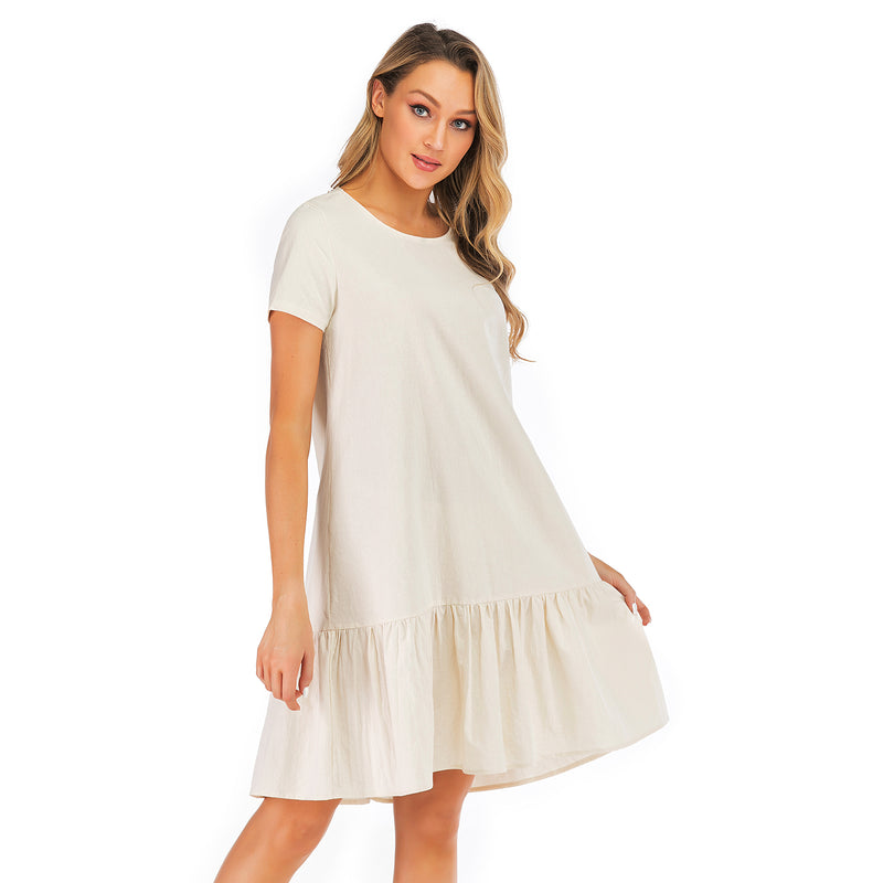 Relaxed hem Apricot mini Dress