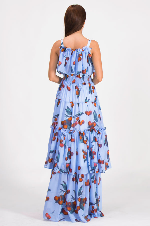 Cherry Print Light Blue Dress