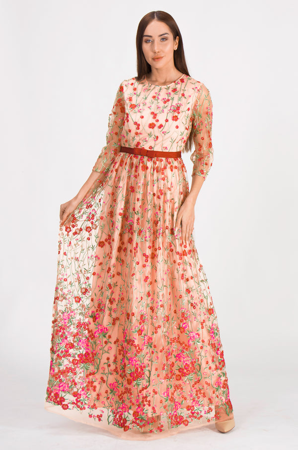 Apricot & Red Embroidery Dress