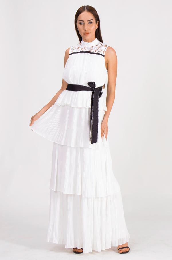 Flaunt it elegantly waist tie White Dress